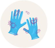 Gloves consumed by micro-organisms